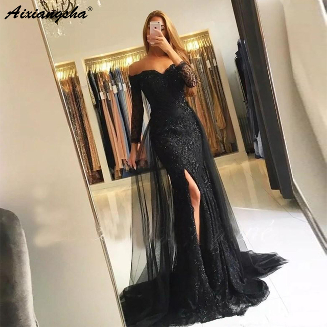 Sexy Off the Shoulder Three Quarter Sleeve Lace Mermaid Prom Dresses With Split Detachable Tulle Train Long Evening Gown 2019