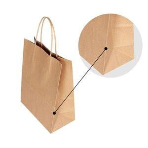 Image 3 - 30 قطعة/الوحدة 4 حجم كرافت ورقة حقيبة مع مقابض لحفل زفاف ملابس عصرية هدايا متعددة الوظائف بالجملة