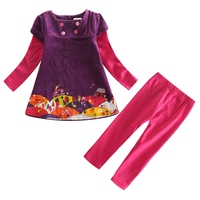 Clothing Set For Children Girls Nova Kids Wear Spring Autumn Clothes Set With Button Decorated Purple