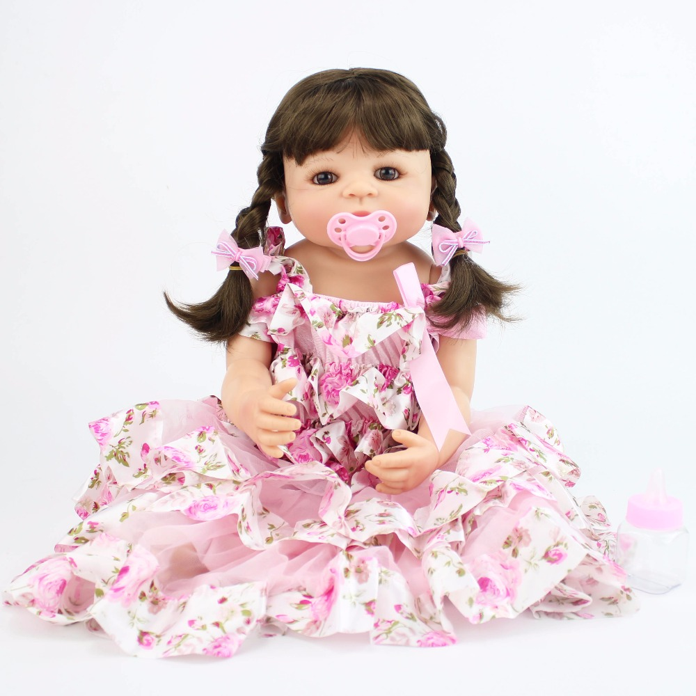 55cm Full Silicone Reborn Baby Doll Toy For Girl Vinyl Newborn Sweet Princess Babies Bebe Alive