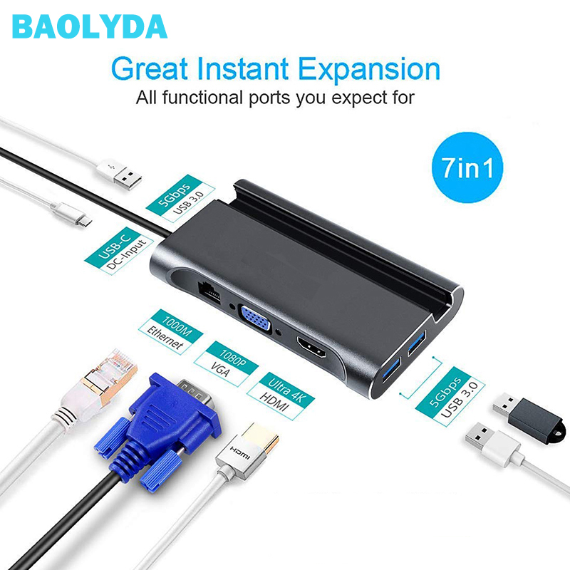Baolyda USB C HUB Thunderbolt 3 adapter 7in1 Type C DOCK 4K HDMI Ethernet VGA PD