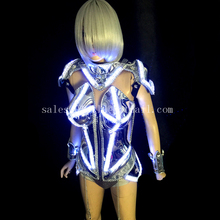 Led Luminous Female Armor Ballroom Sexy Costume Illuminate Silver Plated Bar Party Stage Evening Dress Clothes