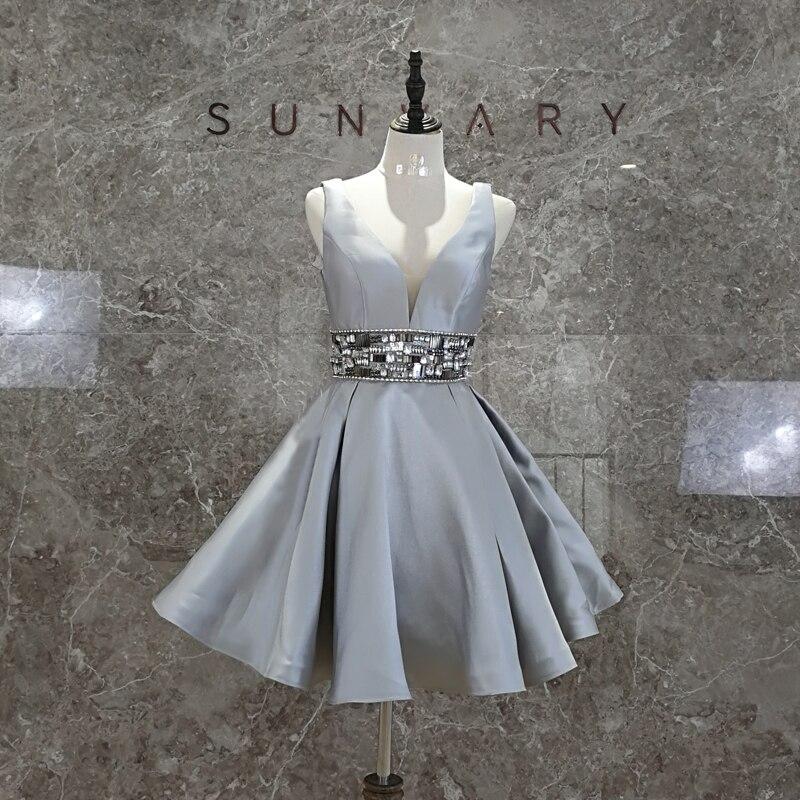 Sunvary Real Image Short Homecoming dress Knee Length Mini Gray Cocktail Ball Gown Dresses Women V neck Rhinestone Belt Waist