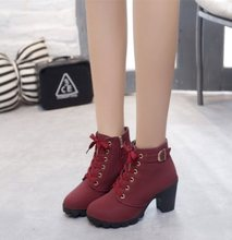 2018New Winter casual Women pumps warm Ankle Boots Waterproof high heels Women Snow Boots shoes women Botas plus EUR35-41(China)