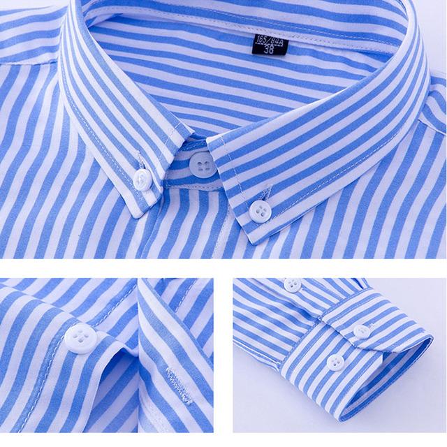 2019 Men Striped Shirts Casual Long Sleeved Mens Shirt 4XL Plus Size Business Man Shirt Male Social Dress Shirts Outwear YN10235