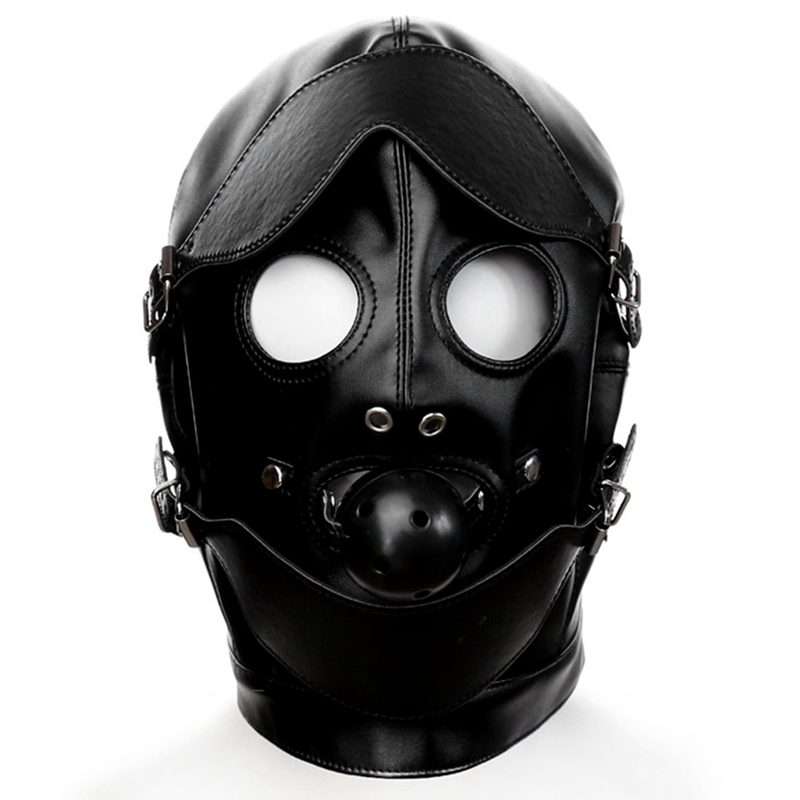 Голова Кожа жгут полиуретановая маска капюшон рот Даг БДСМ костюм фетиш бондаж регулируемый