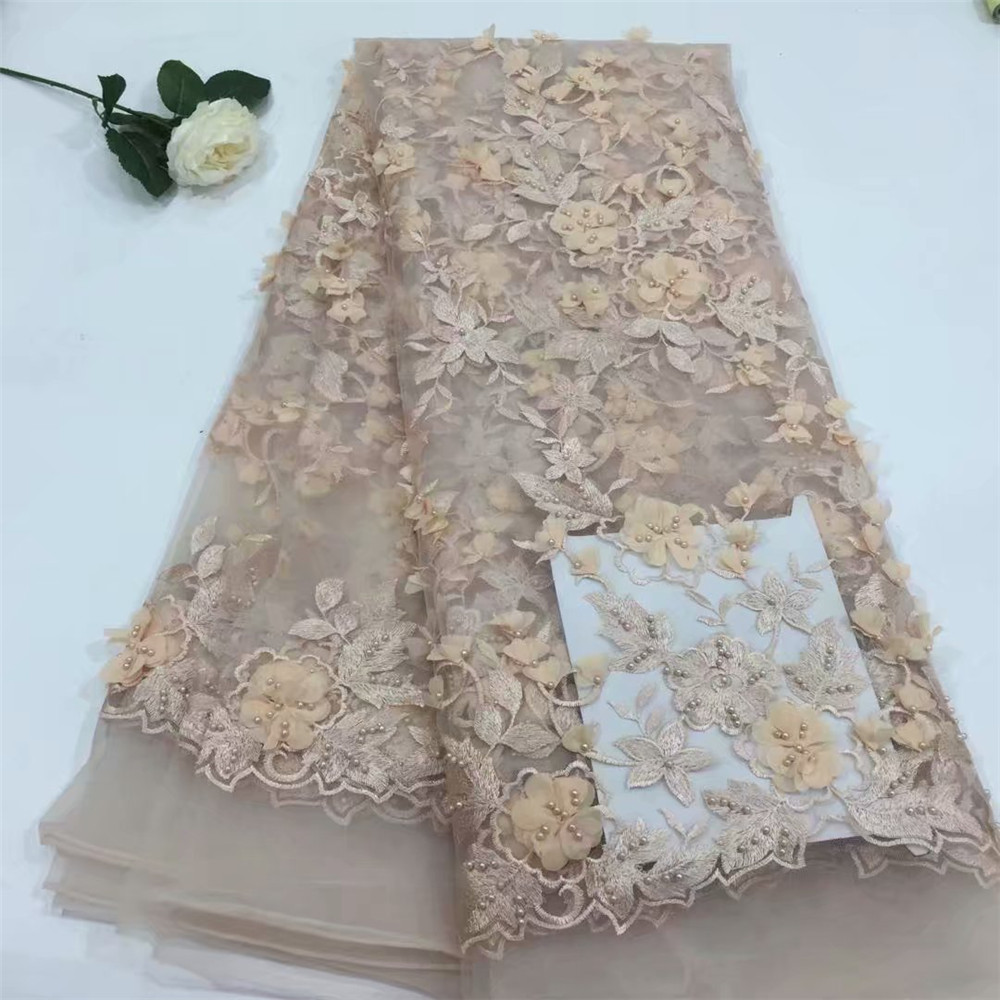 Bridal Nigerian Wedding Lace Materials 3D Lace Fabric High Quality 2018 African Lace Fabric On Sale Beads Lace Fabric H603 2