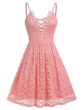 цена на Wipalo Plus Size Lace Criss Cross Cami Dress Spaghetti Strap A-Line Solid Sleeveless V-Neck Women Summer Party Dress Vestidos