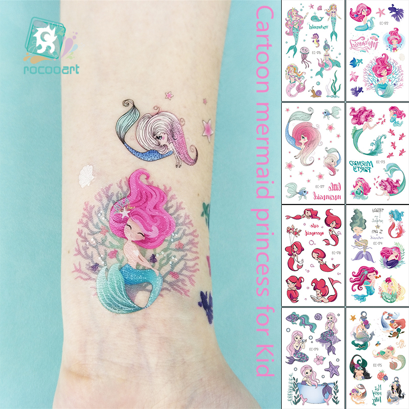 1Sheet Temporary Tattoo Sticker Fashion Fake Tatoo Mermaid Flash Girl Princess Children's Award Sticker Cartoon Small Tattoo