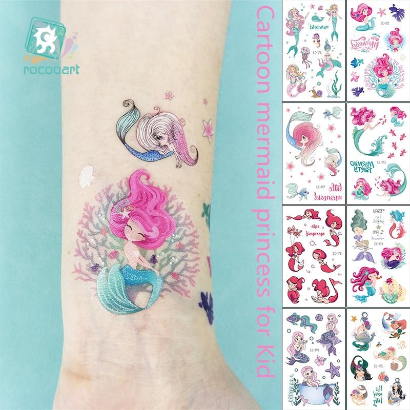 1Sheet Temporary Tattoo Sticker Fashion Fake Tatoo Mermaid Flash Girl Princess Children's Award Sticker Cartoon Small Tattoo