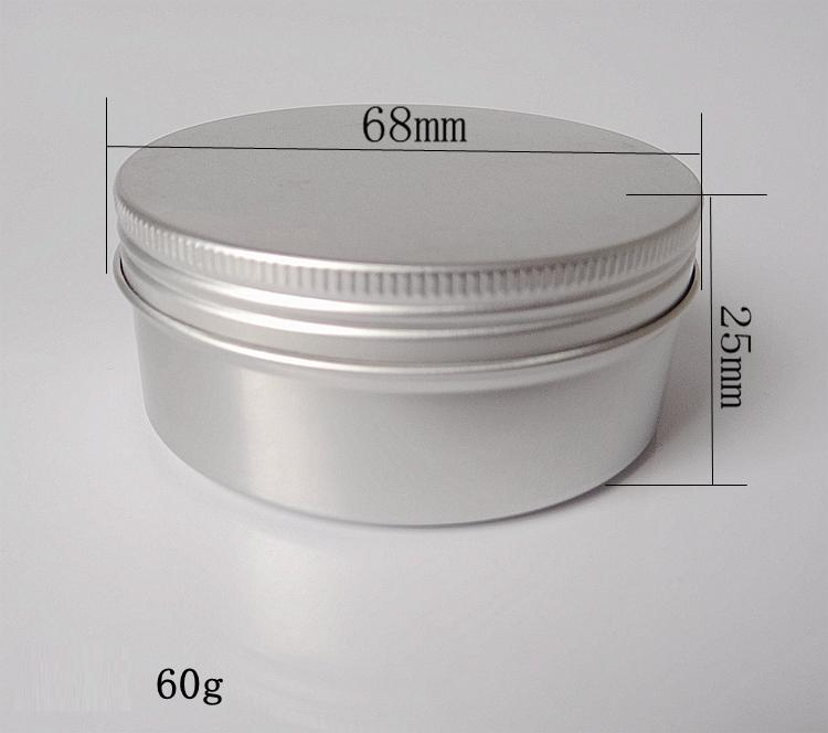 60g 68*25mm refillable empty round aluminum metal tin cans bottle with lids , cosmetic cream container box aluminum jar