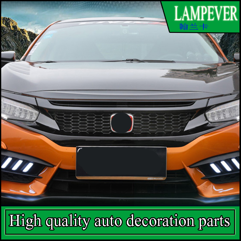 CAR STYLING ABS FRONT BUMPER Honeycomb GRILLE GRILL COVER TRIM BEZEL FRAME SURROUND MOLDING GARNISH FOR HONDA CIVIC 2016 2017