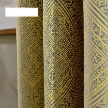 Custom curtain American classical Jacquard weave fabrics shading Nordic geometric living room bedroom  blackout curtain M142