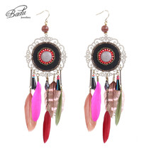 [Clearance] Women Vintage Bohemian Feather Earrings Filigree Colorful Feathers You Just Need to Pay Shipping Fee Get Free
