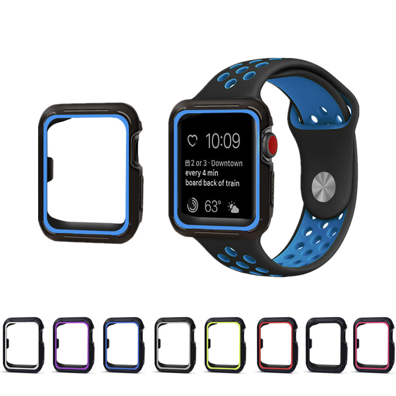 EIMO Sport strap+case for apple watch Nike band 42mm 38mm silicone watchband for iwatch 3/2/1 wrist belt+Protective case jansin 22mm watchband for garmin fenix 5 easy fit silicone replacement band sports silicone wristband for forerunner 935 gps