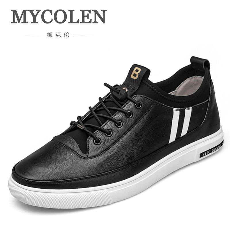 MYCOLEN 2018 Spring Mens Shoes Casual Hot Sale New Flats Black White Red Leather Sneakers Lace Up Moccasins Sapato-Masculino 2018 genuine leather men s vulcanized shoes black white mans footwear flats sneakers casual shoes sapato masculino