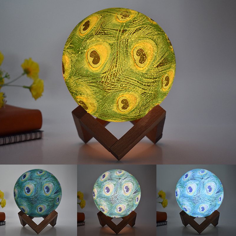 15cm 3D Moon Lights LED Night Light Peacock Feather colorful desk lamp touch remote control home bedroom decoration lighting