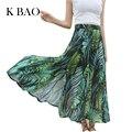 Bohemia Falda de la Hoja de Impresión Mujeres de La Falda Larga Ocasional Verde Playa de La Gasa Faldas Más El Tamaño de Cintura Alta de Mujer Midi Faldas