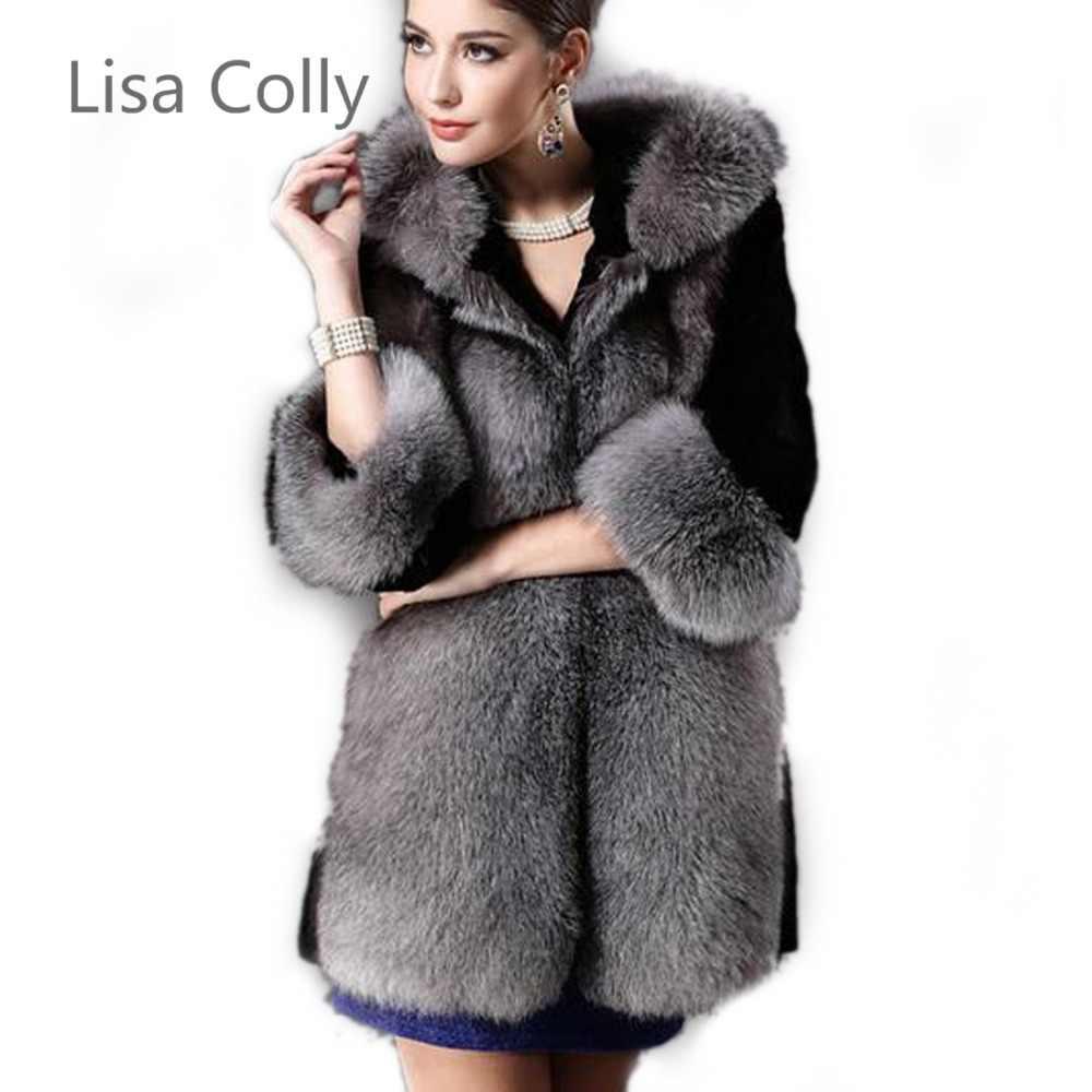 978348f23 Women FAUX FUR coat hooded lady slim rabbit FAUX coat winter FAUX fur  jacket gilet Free shipping