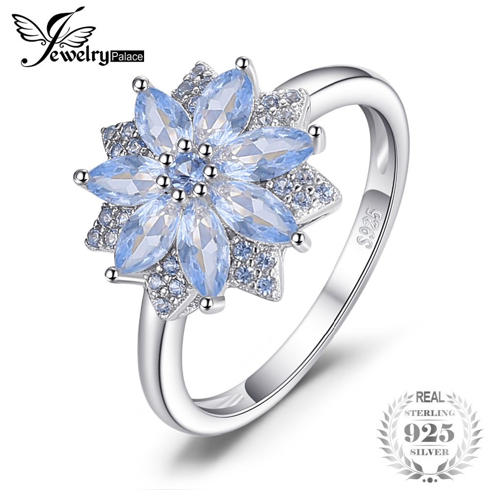 JewelryPalace Flower 1.2ct Created Light Blue Spinel Statement Ring 925 Sterling Silver Fine Jewelry New Gift for Women
