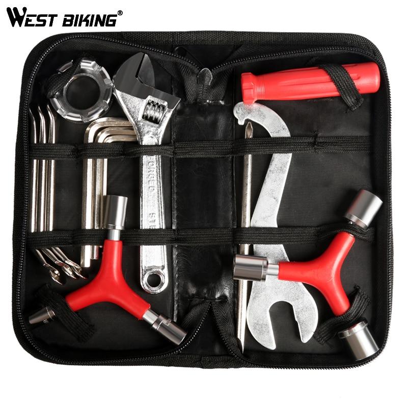 WEST BIKING Bike Repair Tool Kits 12 In 1 Multifunction Bicycle Mechanic Fix Tools Set Cycling Function Tool With Bag