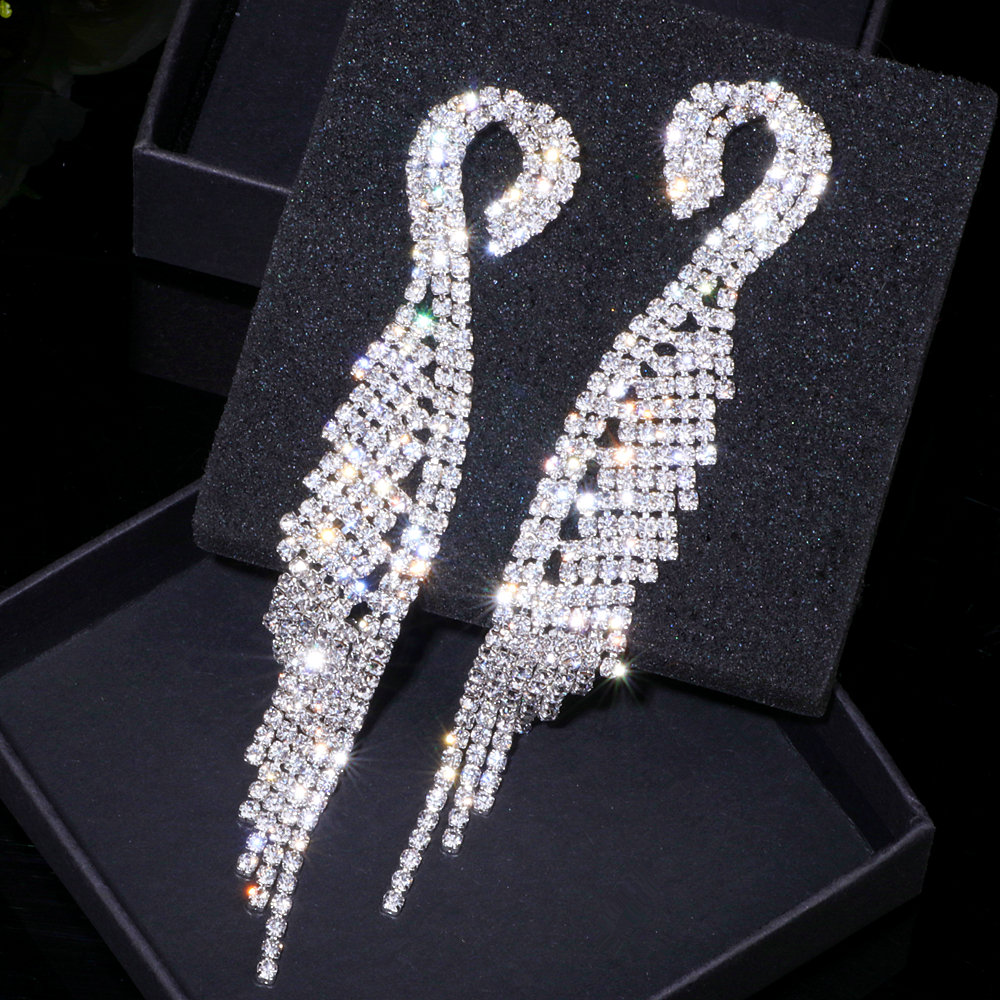 Luxury Crystal Long Tassel Earrings Classic Bridal Dangle Drop Earring Brincos Wedding Engagement Jewelry Accessories WX041