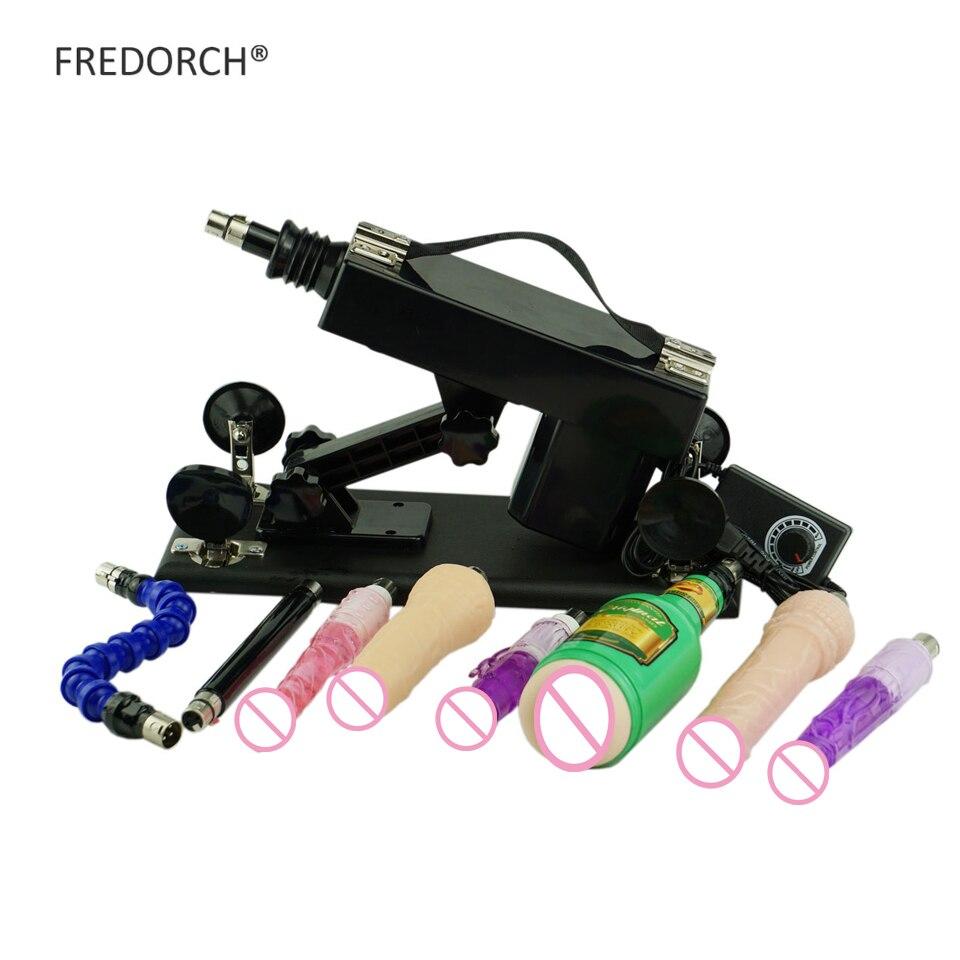 Máquina de amor Sexo para o homem e as mulheres Com 8 FREDORCH Acessórios brinquedos dildos, A2 sexmaschine retrátil arma de bombeamento automático