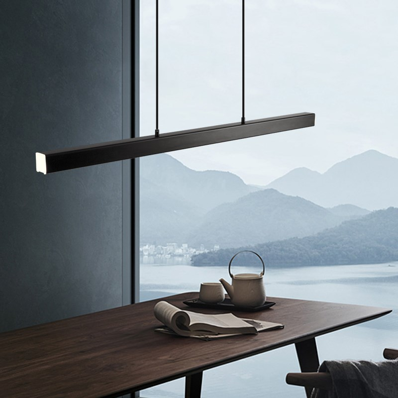 Image 4 - Modern LED dining room chandelier lighting Nordic restaurant long hanging lights office fixtures Bar illumination study lamps-in Pendant Lights from Lights & Lighting