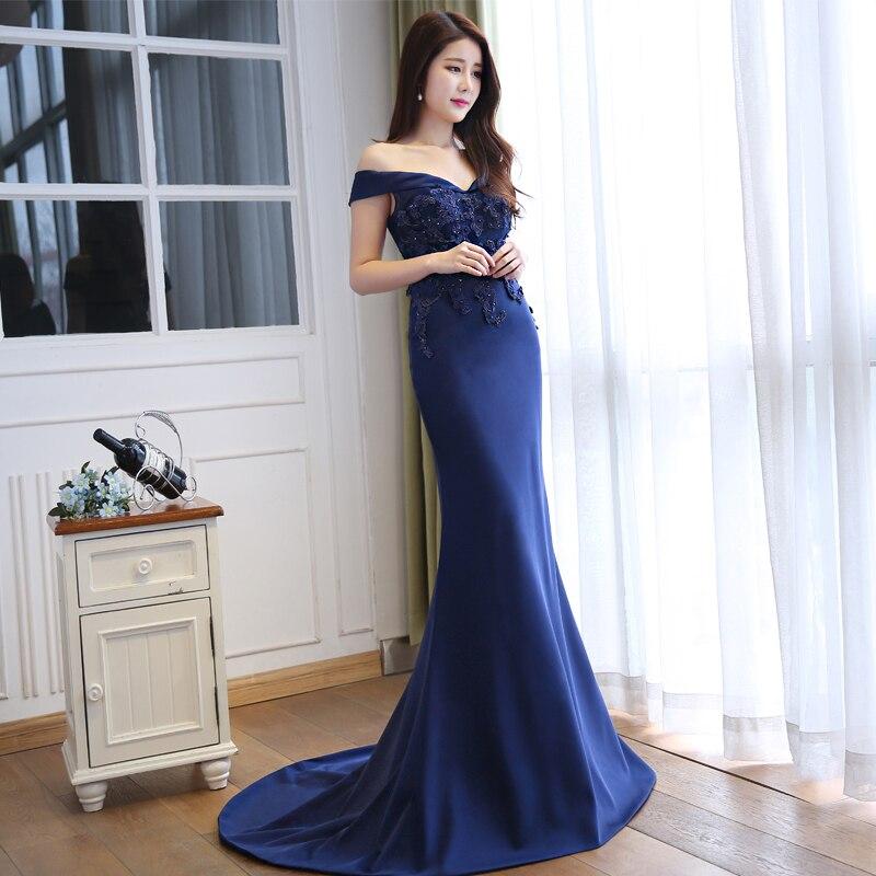 JIERUIZE tamna mornarica plava čipka sirena duge večernje haljine - Haljina za posebne prigode - Foto 3