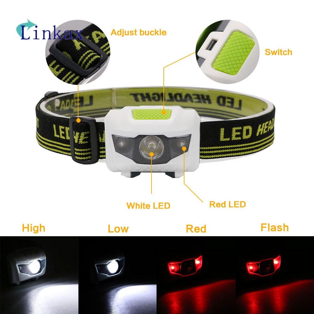 Mini 4 Modes Headlight Battery LED Headlamp Lantern Head Torch Light For Camping Mini Headlamp Light Torch Head Light