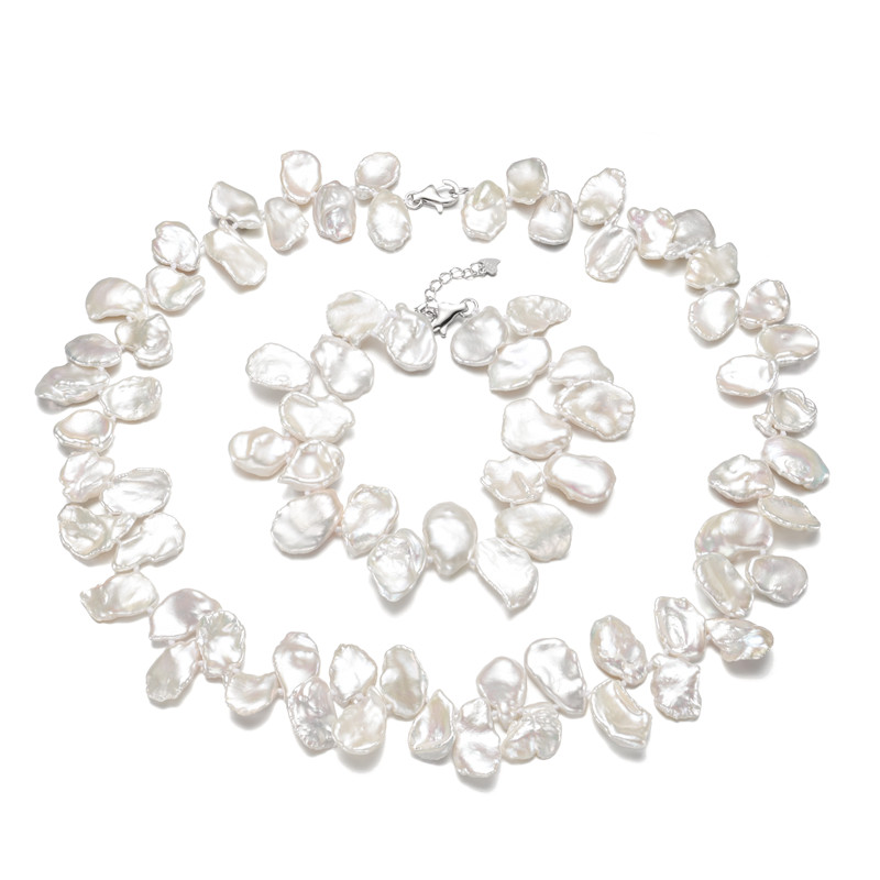 SNH 12-15mm keshi Real freshwater bridal jewelry sets wedding 925 silver fine natural white pearl jewelry sets for women цены