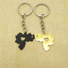 Dropship fashion Venezuela map key chain women bag car Key ring map metal pendant Venezuelan jewelery gifts gold silver color(China)