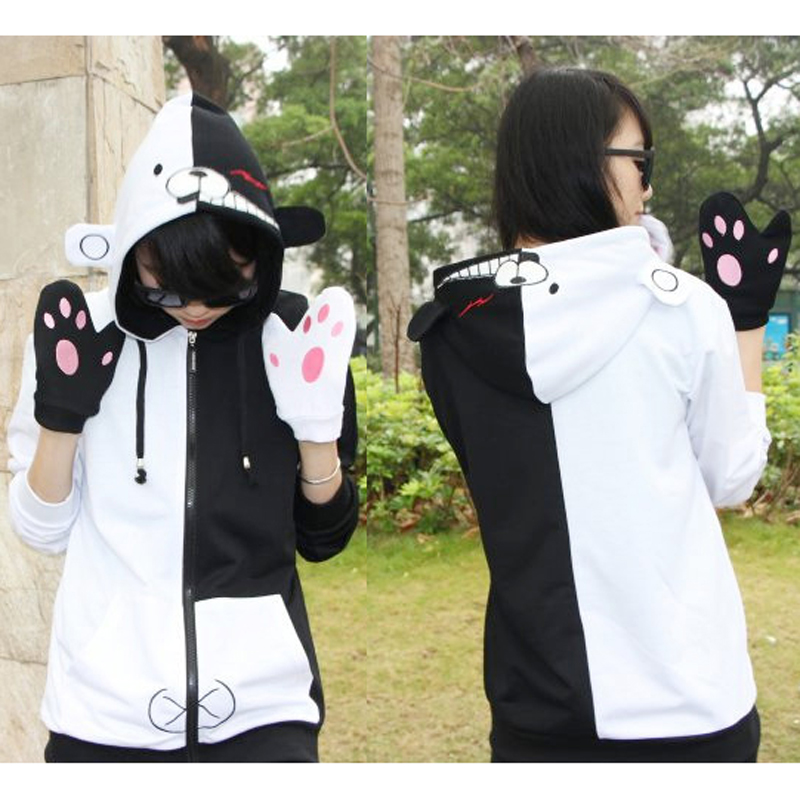 Adult Unisex Anime Danganronpa Monokuma Cotton Hooded Hoodie Jacket Costumes Cosplay For Woman Man Plus Size