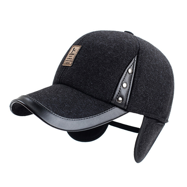 Leather woolen thick male cap pu leather ear protection man cap faux leather quinquagenarian hat brand winter baseball caps warm