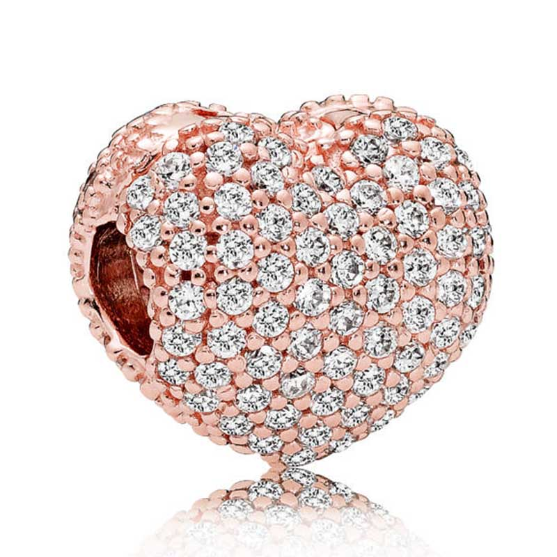 New 925 Sterling Silver Bead Charm Rose Gold Pave Open My Heart Clip Lock Stopper Beads Fit Pandora Bracelet Bangle Diy Jewelry