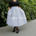 Yuppies moda polka dot preto mulheres saias saia da cópia do vintage 1950 s Estilo de Cintura Alta Saia Plissada Plus Size saia faldas jupe