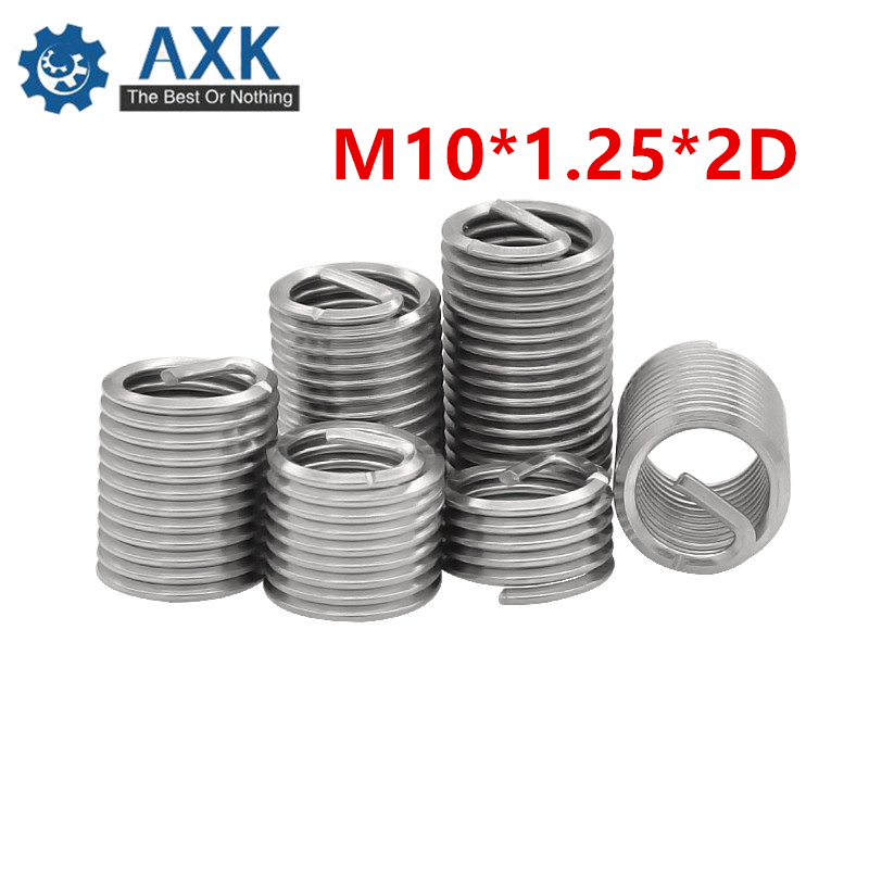 50pcs M10*1.25*2D Wire Thread Insert A2 Stainless Steel Wire Screw Sleeve M10 Screw Bushing Helicoil Wire Thread Repair Inserts