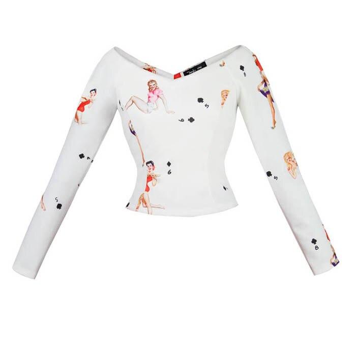 JUNGLE ME 2017 Spring New V Collar Long Sleeve Tops T Shirts Elegant Commute Vintage White