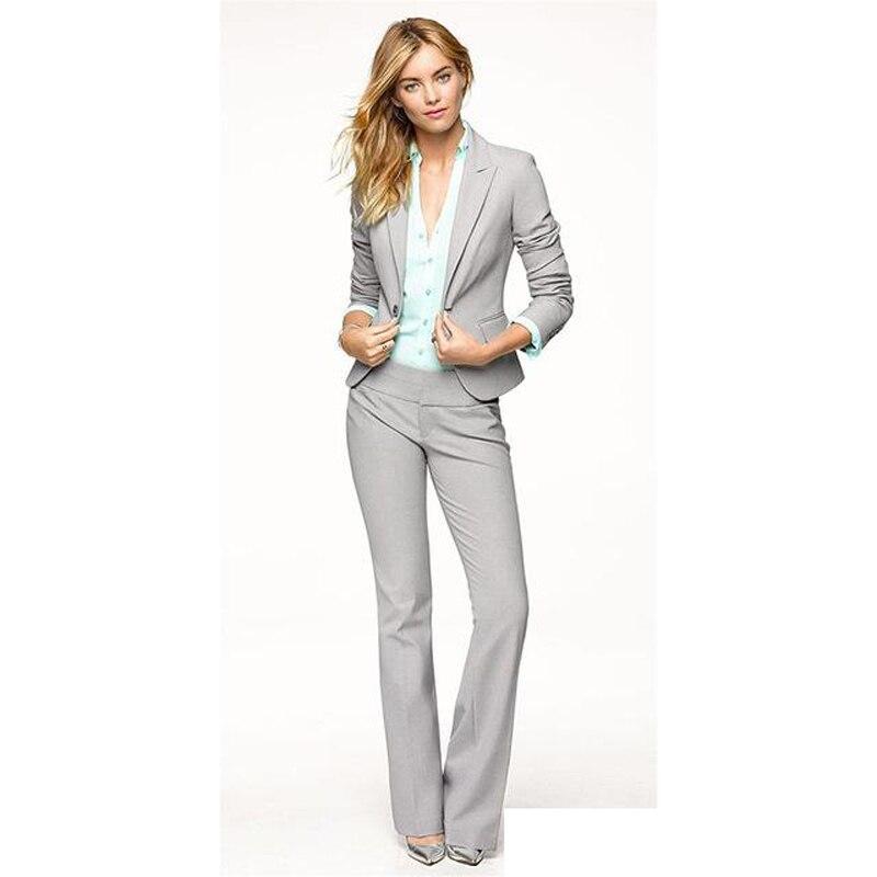Светло серые женские брючные костюмы, Блейзер, деловая рабочая одежда, Униформа, дамские брючные костюмы, брючный костюм, женский деловой Бл