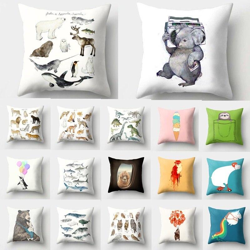 1Pcs Animal Fox Dinosaur Pattern Polyester Throw Pillow Cushion Cover Car Home Decoration Sofa Bed Decorative Pillowcase 40513