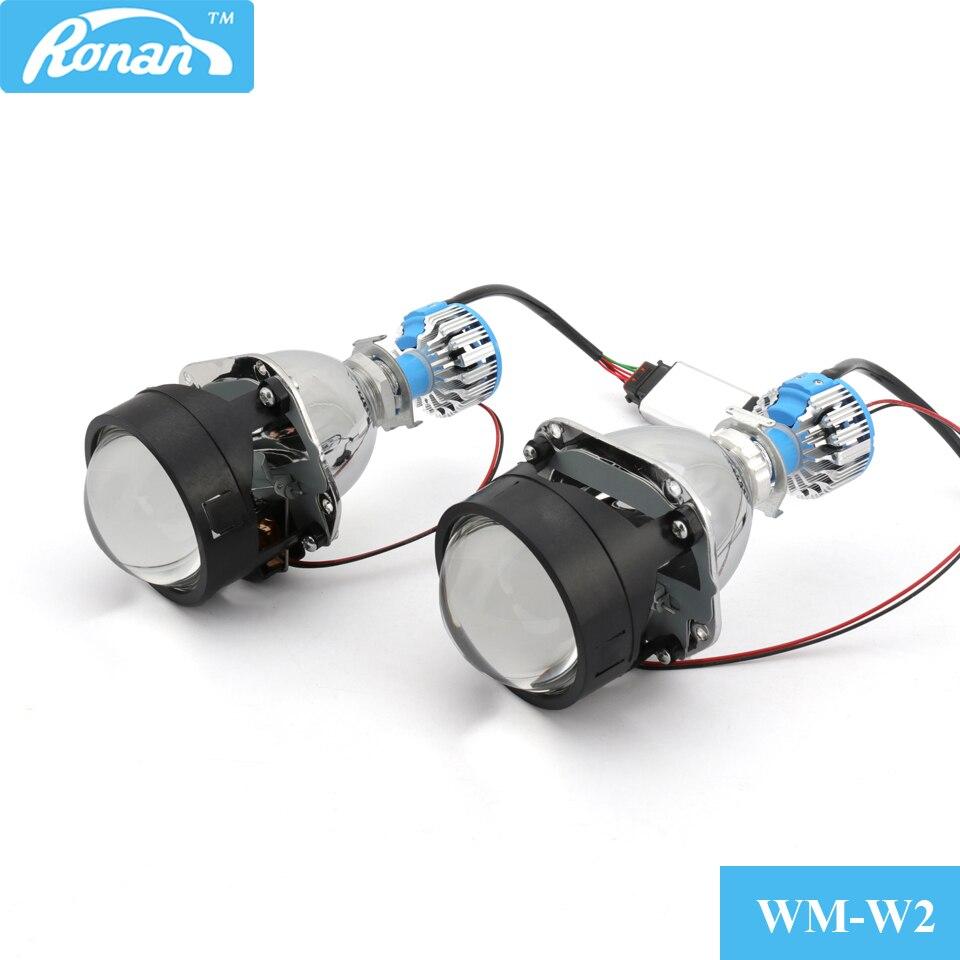 RONAN voiture style Mini 2.5 mise à niveau Bi projecteur LED lentille rénovation bricolage H4 H7 phares lentilles utiliser LED H1 blanc auto phare