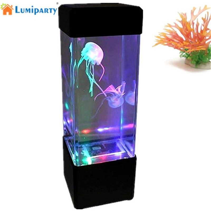 LumiParty LED Desktop Comodino Luce Meduse Pesci Tropicali Acquario Serbatoio Luce LED Relaxing Mood Notte Della Lampada Della Luce