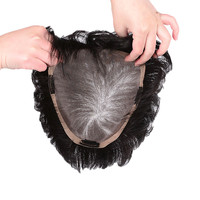 AOSI Durable Hairpieces Lace PU Replacement Top Head Toupees Synthetic Straight Black Brown Clip In Air Bangs Closure Women