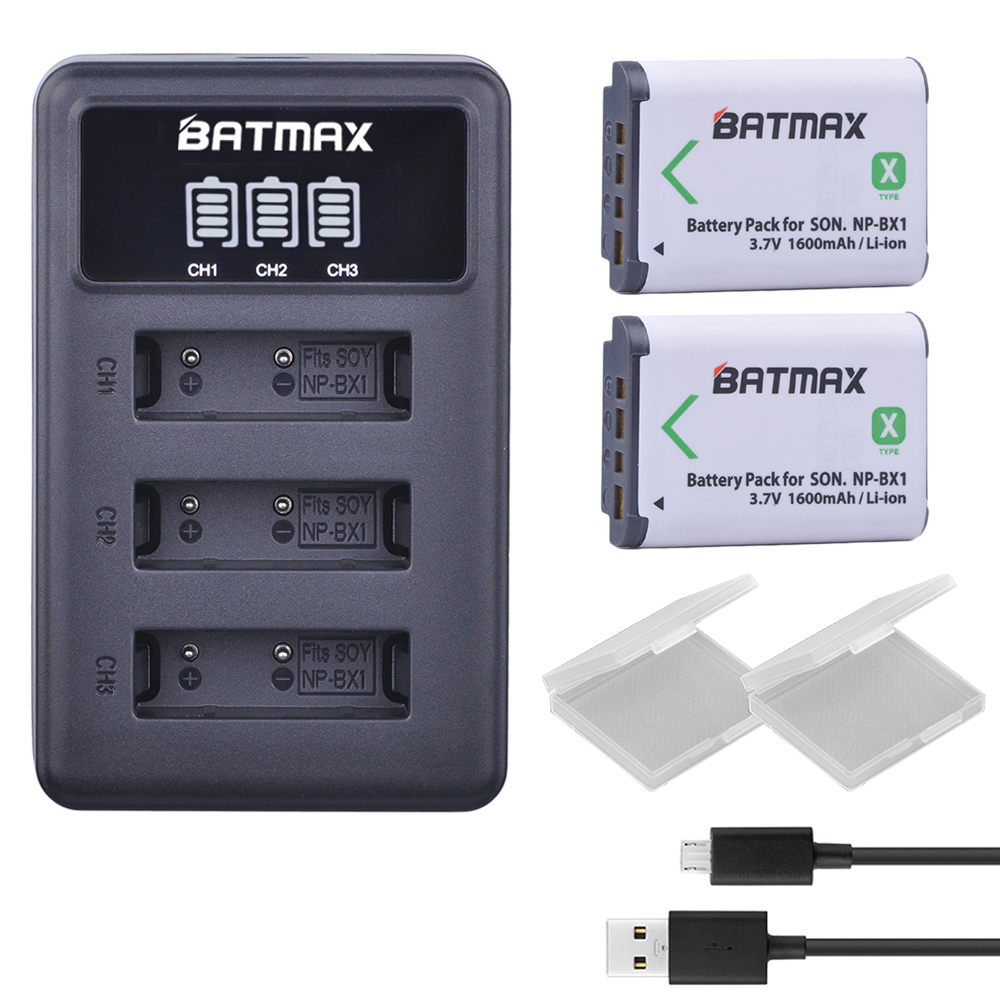 2Pcs NP-BX1 NP BX1 battery NPBX1 Battery +LED 3 Slots USB Charger for Sony NP-BX1 HDR-AS200v AS20 AS15 AS100V RX100 X1000V WX350 sony np bx1