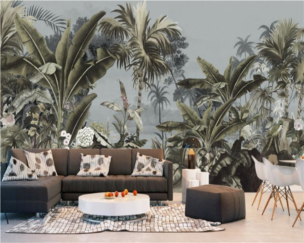 Beibehang Custom 3D Photo Wallpaper European Retro Hand-painted Rain Forest Mural TV Background Wall Wall Paper Home Decor