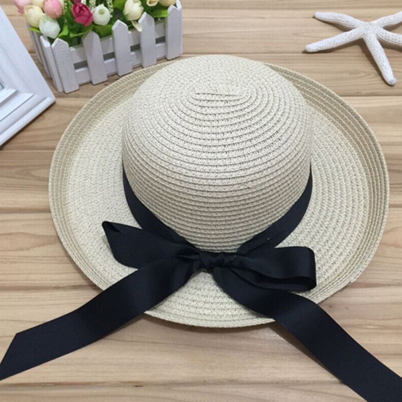1Pcs Summer New Women 39 s Sun Hat Black Bowknot Ribbon Flanging Straw Hat Beach Caps Head Circumference 56 58 cm 3 Colors 6113 in Women 39 s Sun Hats from Apparel Accessories