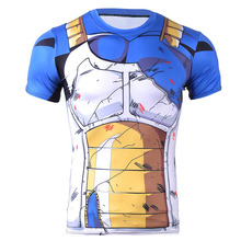2016 New Fashion Compression Men T-shirt Blue Dragonball Character T-shirt Hand-painted Muscle Machine for Mens Top S-4XL