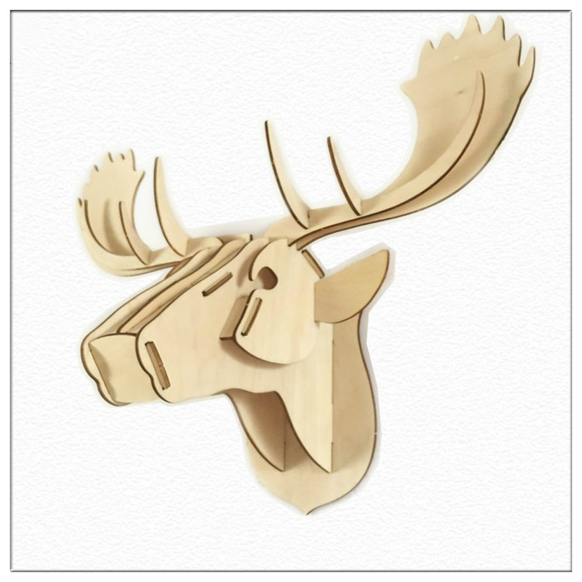1 Piece 20 Inch Wooden Deer Head DIY Crafts Creative Wall Hanging ...