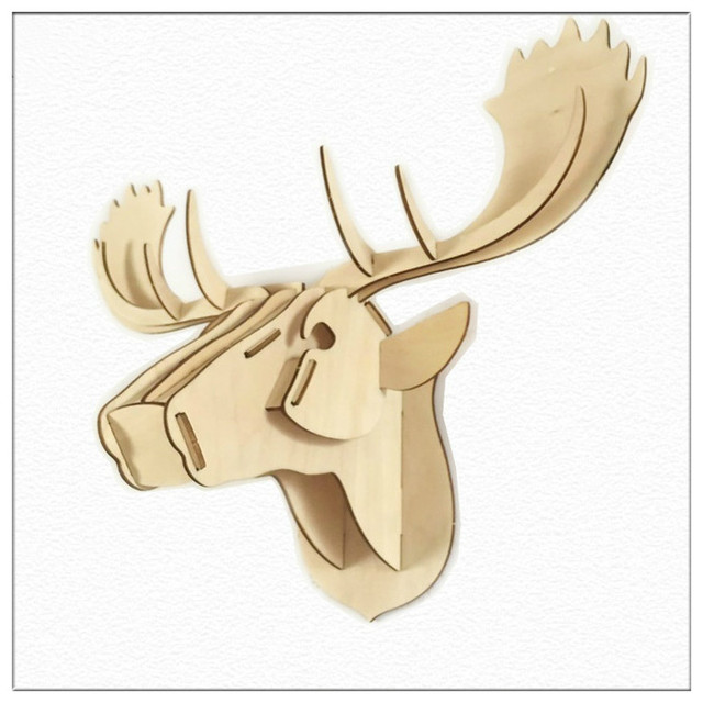3D Wooden Moose Head Wall Hanging Assembly Jigsaw Puzzle Kit Plywood ...