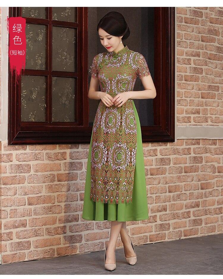 2018 New fashion Elegent sexy summer dress daily retro Asia China Vietnam aodai family Style improved cheongsam Red Green Blue in Cheongsams from Novelty Special Use